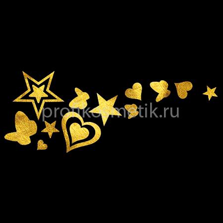 Временная татуировка След Феи Fairy Trail Золотая Gold Sin, размер 5X5см, Италия