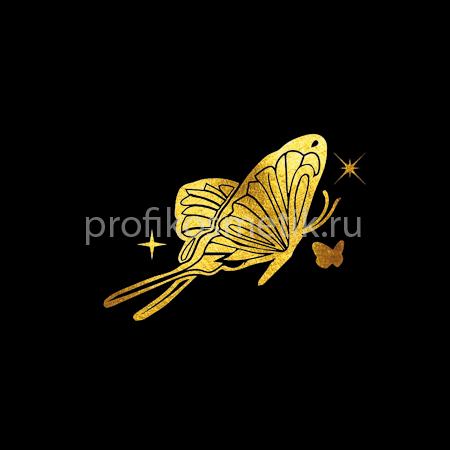 Временная татуировка Бабочка Freedom Золотая Gold Sin, размер 5X5см, Италия