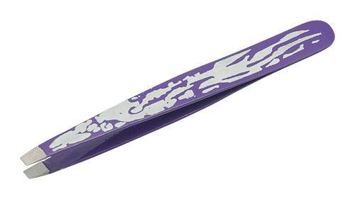Пинцет прямой Фиолетовый с Орнаментом Metzger