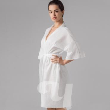Халат кимоно SMS (люкс) без руковов белый 10 шт/уп