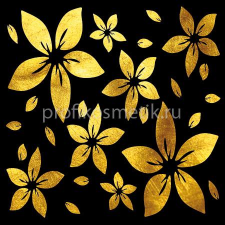 Временная татуировка Лепестки-Звезды Stars Petals Золотая Gold Sin, размер 10X10см, Италия