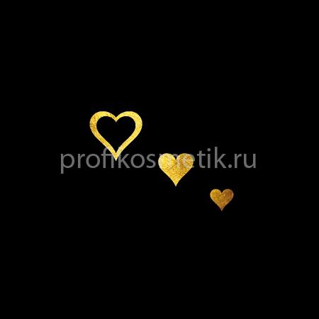 Временная татуировка 3 сердечка Fantasy Золотая Gold Sin, размер 3,3X2см, Италия