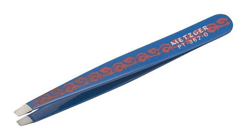 Пинцет скошенный Синий с растительным орнаментом Metzger