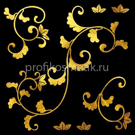 Временная татуировка Ветка Gold Leaves Золотая Gold Sin, размер 10X10см , Италия